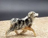 tiny australian shepherd - blue merle -  porcelain sculpture