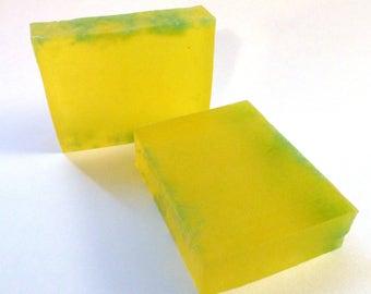 Lemon Blueberry Verbena Handmade Glycerin Soap Bar Slice - Vegan, SLS Free