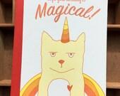 letterpress Caticorn Magical birthday