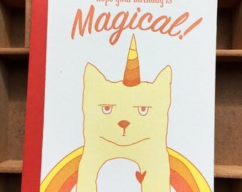 letterpress Caticorn Magical birthday