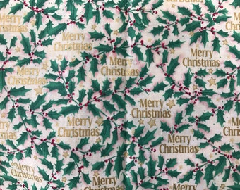 1 Yard of Gold, Green and Red Merry Christmas Print Cotton Fabric from Brother Sister Design Studio