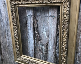 Vintage Large Ornate Gold Painted Wood and Gesso Picture Frame