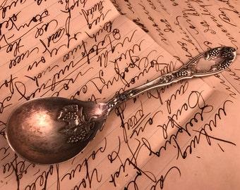 Antique/Vintage Silver Plate Sugar Spoon Grapes Design