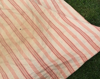 Vintage Pink and Off White Wide Stripe Ticking FEATHERBED Feather Bed