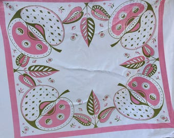 Vintage Pink and White Apple Print Luncheon Cloth/Tablecloth