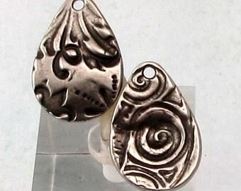 Flora Large Teardrop Charm, Antique Pewter, TierraCast, 2 Pieces TPA12