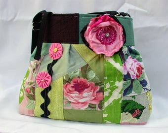 Vintage Barkcloth Patchwork-pink roses -Green-Handbag -adjustable-Messenger -Shoulder Bag- BagZGirl