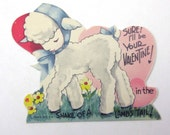 Vintage Children's Novelty Valentine Greeting Card with Cute Little White Lamb with Bonnet