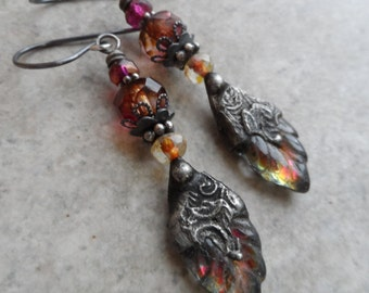 RESERVED The Fire Within ... Czech Glass Leaves with Tinwork, Czech Glass and Sterling Silver Wire-Wrapped Boho, Rustic, Leaf Earrings
