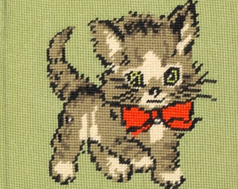 Vintage Needle Point Kitten Seat Cover Pillow Cover Needlework Sweet Kitty Cat Kitten Feline Green Eyed Kitten