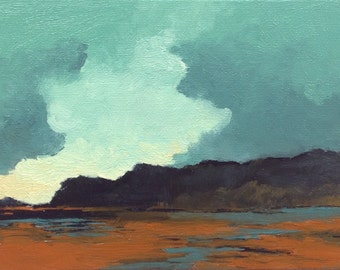 OPENING, oil painting, landscape, original oil, 100% charity donation, original painting  5x7 canvas panel, clouds