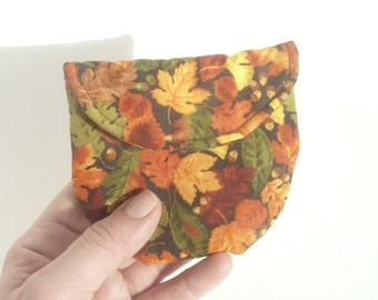 autumn leaves rosary pouch. catholic girls gift. first communion baptism confirmation. padded ear bud pouch magnet snap