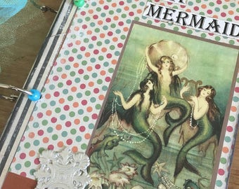Vintage Book Mermaid Journal Scrapbook One of a kind made with a Vintage Book Cover upcycle I'd rather be a mermaid
