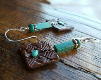 Leather Star Earrings - Hand Tooled Earrings - Turquoise and Sterling Silver - Western Jewelry - Cowgirl Earrings by Heart of a Cowgirl