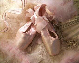 vintage satin ballet pointe toe shoes, pale soft pink color, palest pink ribbons, professional dance, satin ribbons, chic color, petite size
