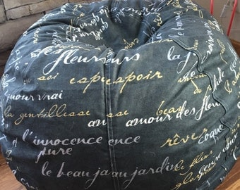 French Script Words Chalkboard Looking Fabric Bean Bag Pillow Chair For Chic Decor Unfilled With Cover
