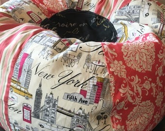 NEW London Paris New York Shabby Chic Bean Bag Chair With Pink Florals Striped And