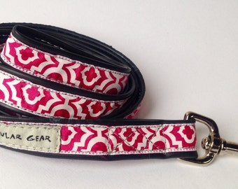 Hot Pink and White Patterned Leash