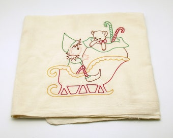 Vintage Kitchen Towel Flour Sack Pixie Elf Sleigh Christmas Towel