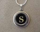Typewriter Key Jewelery Necklace BLACK LETTER S Typewriter Key Necklace Initial Necklace Inital S