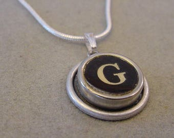 Typewriter key Jewelry Necklace BLACK LETTER G - Typewriter Key Necklace - Initial G serif font Initial Necklace