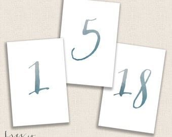 DEEP BLUE - DIY Printable Table Numbers  - 4x6 Digital Design - Numbers 1-20 - Painted Blue Watercolor and Calligraphy - Instant Download