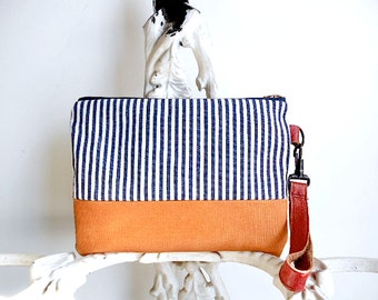 Indigo stripe clutch, wristlet, iPad case - hickory selvedge denim, leather - eco vintage fabrics