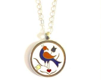 Dutch Bird Necklace, Silver Bird Necklace, Vintage Necklace