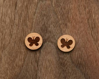 8 pcs Butterfly Wood Charm,Carved,Engraved,Earring Supplies,Cabochons (WC 134)