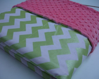 Metallic Lime Chevron with Coral Minky Minky Blanket 40 x 58 READY TO SHIP On Sale