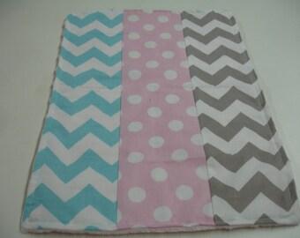 Baby Pink and Aqua Chevron and Dots Minky Burp Cloth 11 x 16 READY TO SHIP