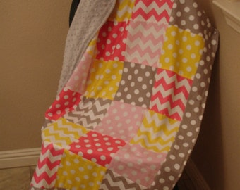 Chevrons and Dots Pink Yellow Gray Minky Blanket with Border MADE TO ORDER No Batting