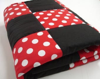 Dots Red and Black Mickey Inspired Minky Baby Security Blanket 25 x 38 READY TO SHIP On Sale