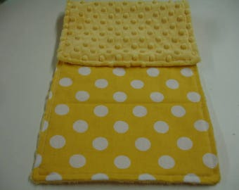 Yellow Dots Baby Burp Cloth with Minky On Sale