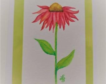 Coneflower Watercolor Card Handmade Card Watercolor Coneflower Card Coneflowers Blank Card