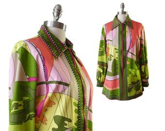 Vintage Aremis Shirt | Psychedelic Novelty Print Blouse Bold Print Zip Front Jacket 1970s 70s