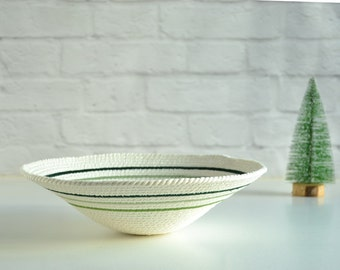 Decorative cotton rope bowl with stitched pattern in green palette. Mesey Collection by Paleolochic