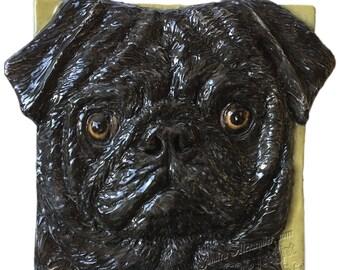 PUG Dog Ceramic Portrait Sculpture 3d Dog Art Tile Plaque FUNCTIONAL ART by Sondra Alexander In Stock
