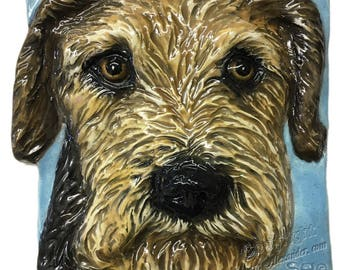 Airedale Terrier Ceramic Portrait Sculpture 3D Dog Art Tile by Sondra Alexander ready to ship