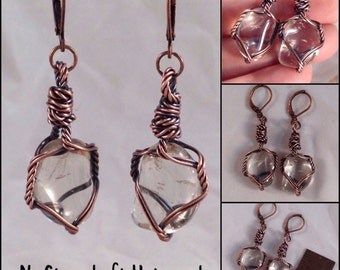 Simple wire wrapped tumbled Quartz earrings