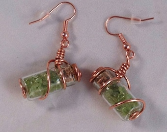Natural Peridot filled bottle earrings