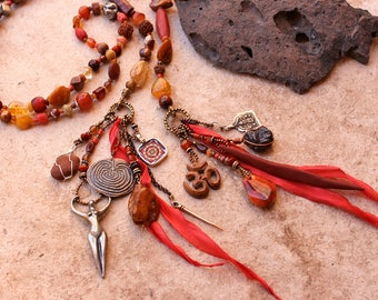 Goddess Spirit Beads + Meditation + Prayer Beads + Shakti + Red + Amulets + Labyrinth + Large Precious Opal Beads + Spiritual + Ceremony
