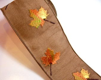 Autumn Ribbon, Brown Maple Leaf Wired Fabric Ribbon 4 inches wide x 10 yards, Offray Vermont Ribbon, Embroidered
