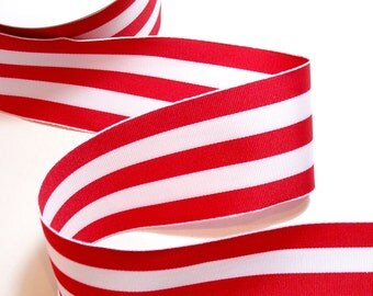 Wired Ribbon, Red and White Stripe Grosgrain Wired Fabric Ribbon 2 1/2 inches wide x 3 yards, Offray Carnival Ribbon