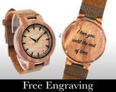 Engraved Wood Watch, Wooden Watch, Engraved Watch, Wood Watch, Light Wood Light Face, Personalized Gift, Christmas, Gifts For Him