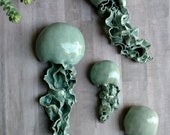 Reserved. Ribbon Jellyfish ceramic wall sculpture. Set of 3 art installation. Large wall art.  Bathroom wall decoration. Ceramic fish