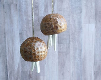 Ceramic Wind Chime. Small Jellyfish hanging sculpture. Beach house art gift.  Wind bell. Textured ceramic bell sculpture.