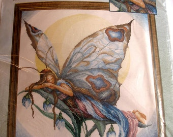 Rare Janlynn Lanarte Quiet Moments Butterfly At Rest Fairy Wings Counted Cross Stitch Kit New Picture Wall Art Decor Romantic Chic