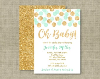 Mint & Gold Baby Shower Invitation / Glitter Baby Shower Invite / PRINTABLE A148