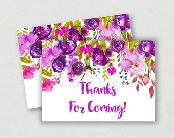 Purple Floral Thank You Tags / Floral Thank You Tags / Floral Baby Shower / Watercolor Floral / Printable INSTANT DOWNLOAD A167